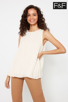 F&F Ecru Pleat Shell Blouse