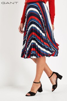 GANT Womens Preppy Stripe Pleated Skirt