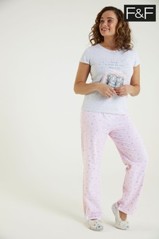 F&F Grey Tatty Pyjamas