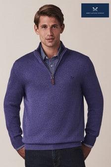 Crew Clothing Blue Classic 1/2 Zip Knit Jumper
