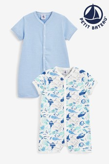 Petit Bateau White And Blue Ocean Bodysuits Two Pack