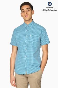 Ben Sherman Main Line Blue Short Sleeve Gingham Shirt