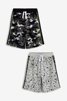 2 Pack Camo/Splat Print Pyjama Shorts (3-16yrs)