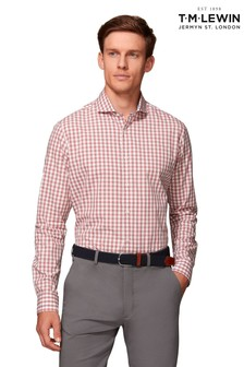 T.M. Lewin Peached Melange Slim Fit Pink Gingham Shirt