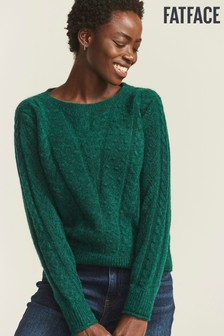 FatFace Green Bobble Chevron Jumper
