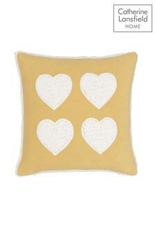 Catherine Lansfield Pink Cosy Fleece Sherpa Heart Cushion