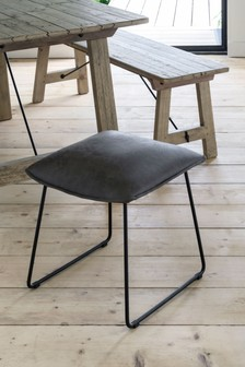 Bernie Monza Faux Leather Charcoal Stool