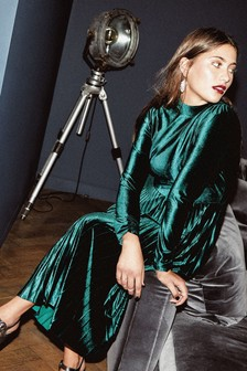 Oasis Deep Green Pleated Velvet Midi Dress