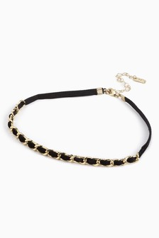 Chin Link and Velvet Ribbon Choker