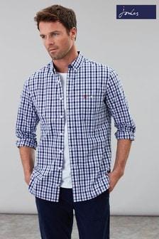 Joules Blue Abbott Long Sleeve Peached Poplin Shirt