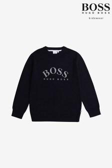 BOSS Navy Logo Knitwear Jumper
