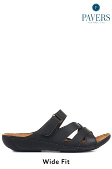 Pavers Black Ladies Touch-Fasten Mules