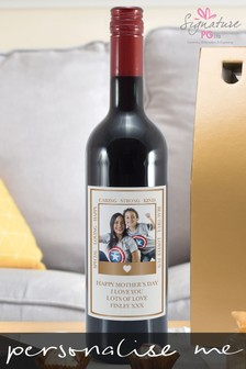 Personalised Photo Upload Rose Gold Polaroid Red Wine by Signature PG