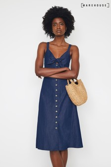 Warehouse Blue Tie Front Denim Dress