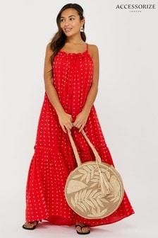 Accessorize Red High Neck Maxi Dress