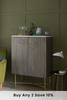 Piano Mango Wood and Marble Drinks Cabinet