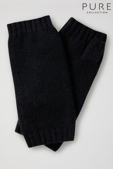 Pure Collection Black Cashmere Mittens
