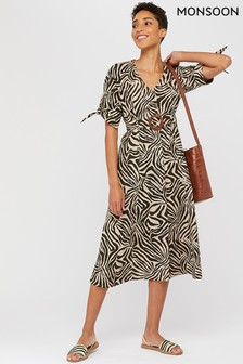 Monsoon Brown Zadie Zebra Print Organic Cotton Dress