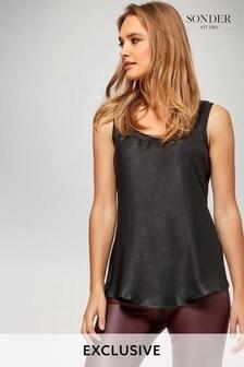 Sonder Studio Grey Woven Front Jersey Back Vest