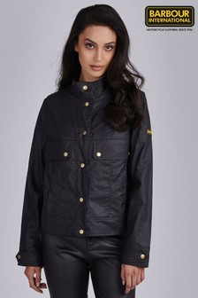 Barbour® International Black Coated Linen Mix Victory Jacket