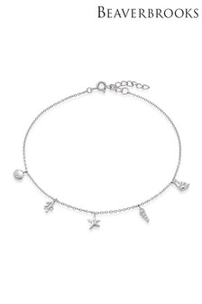 Beaverbrooks Sterling Silver Cubic Zirconia Seaside Anklet