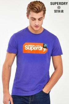 Superdry T-Shirt mit Logoetikett, Blau