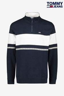 Tommy Jeans Tape Zip Mock Neck Sweatshirt