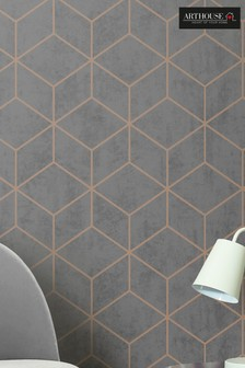 Box Geo Charcoal Copper Wallpaper by Arthouse