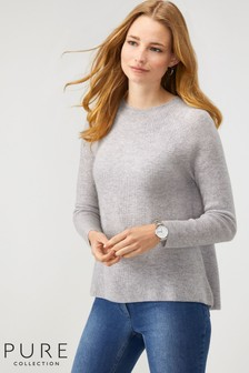 Pure Collection Grey Cashmere Ribbed Swing Sweater