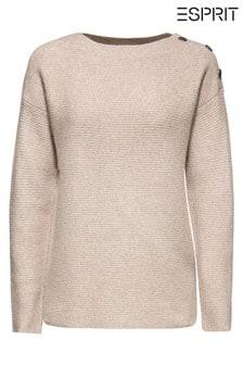 Esprit Brown Button Shoulder Ribbed Sweater