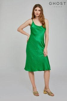 Ghost London Green Sherry Satin Slip Dress