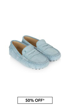 Tods Boys Blue Leather Loafers