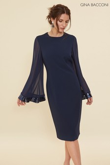 Gina Bacconi Blue Hania Moss Crepe Dress