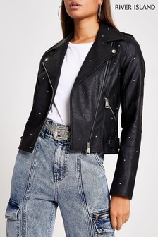 River Island Black Studded Biker Jacket
