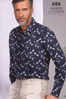 Hawes & Curtis Navy Dragonflies Slim Fit Shirt