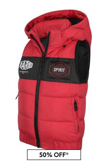 Boys Red Down Padded Gilet