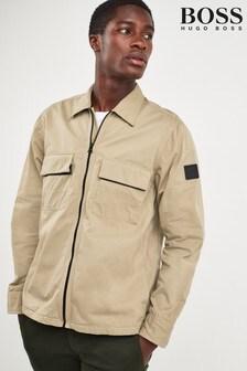 BOSS Natural Lovel Zip Twill Overshirt