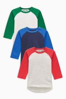 长袖插肩式上衣三件套装 (3个月-6岁)