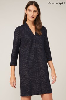 Phase Eight Blue Sakie Geo Jacquard Dress