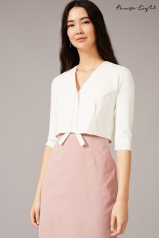Phase Eight Cream Perry Pleat Knitted Jacket