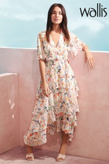 Wallis Watercolour Leaf Tiered Dress