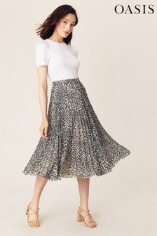 Oasis Multi Natural Leopard Pleated Skirt