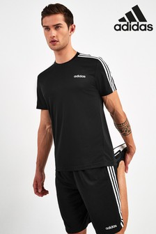 adidas Black D2M 3 Stripe T-Shirt