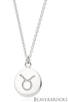Beaverbrooks Silver Taurus Disc Necklace