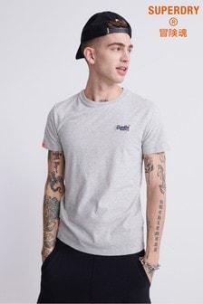 Superdry Besticktes T-Shirt, Silber