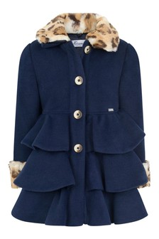 Girls Navy Leopard Trim Coat