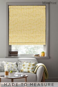 Little Trees Yellow Made To Measure Roman Blind by MissPrint