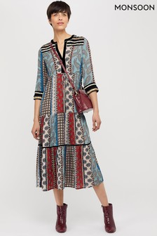 Monsoon Black Leonie Ecovero Print Patch Midi Dress
