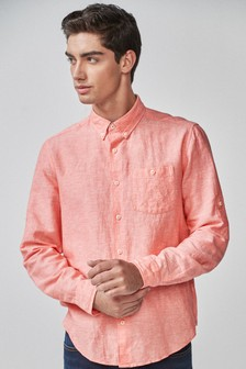 Linen Rich Roll Sleeve Shirt