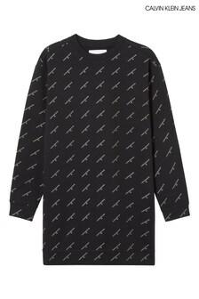 Calvin Klein Jeans Black Gold Logo Sweatshirt Dress